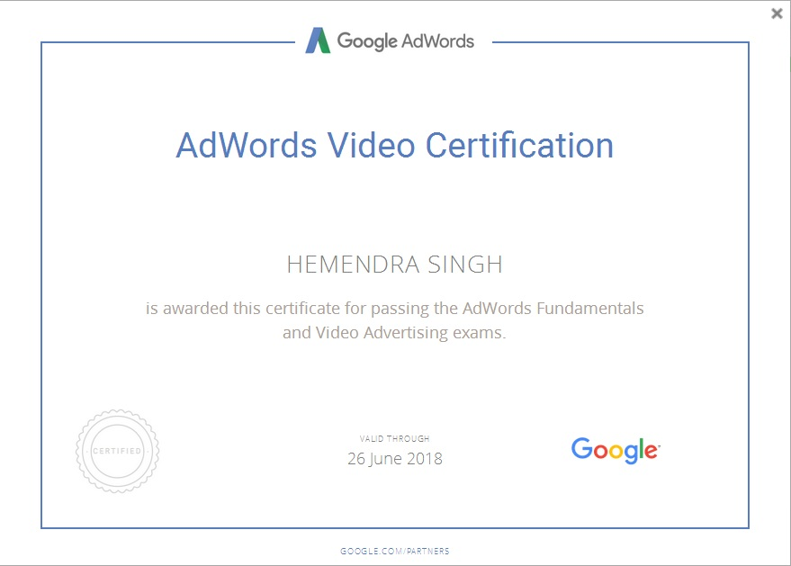 I Am Google Adwords Video Certified In Portfolio By Hemendra Singh